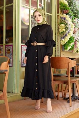 - Hasır Kemerli Fırfırlı Elbise 7119-01