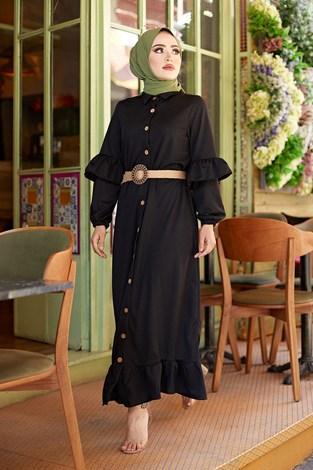 - Hasır Kemerli Fırfırlı Elbise 7119-01 (1)
