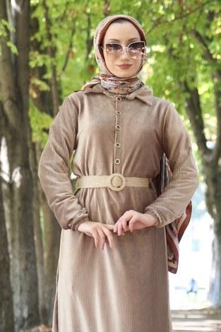 - Hasır Kemerli Kadife Elbise 1561-11 (1)
