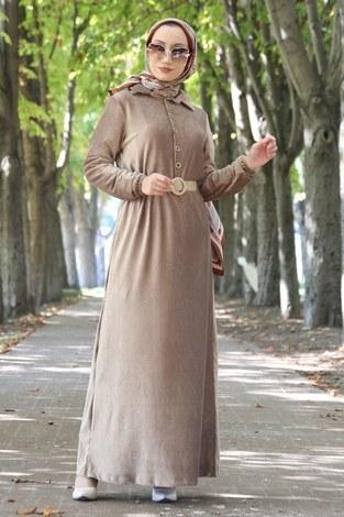 - Hasır Kemerli Kadife Elbise 1561-11