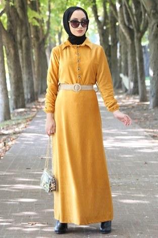 - Hasır Kemerli Kadife Elbise 1561-10