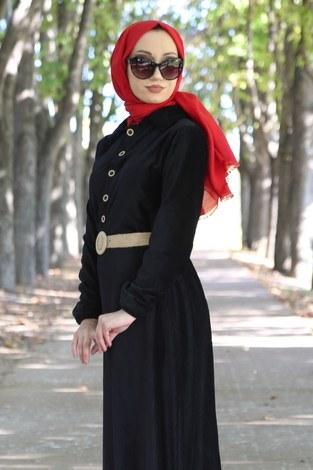 - Hasır Kemerli Kadife Elbise 1561-01 (1)