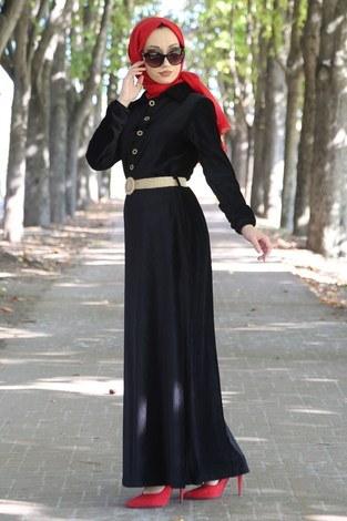 - Hasır Kemerli Kadife Elbise 1561-01