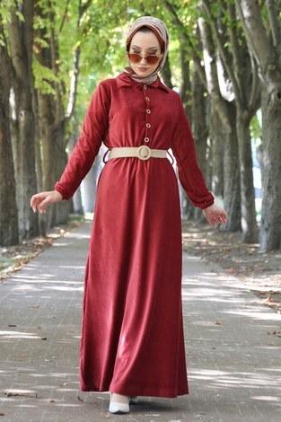 - Hasır Kemerli Kadife Elbise 1561-03