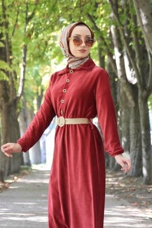 - Hasır Kemerli Kadife Elbise 1561-03 (1)