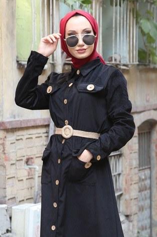 - Hasır Kemerli Kadife Elbise 5561-01 (1)