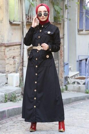 - Hasır Kemerli Kadife Elbise 5561-01