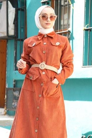 - Hasır Kemerli Kadife Elbise 5561-16 (1)