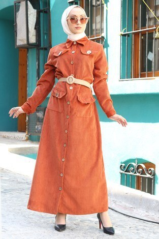 - Hasır Kemerli Kadife Elbise 5561-16