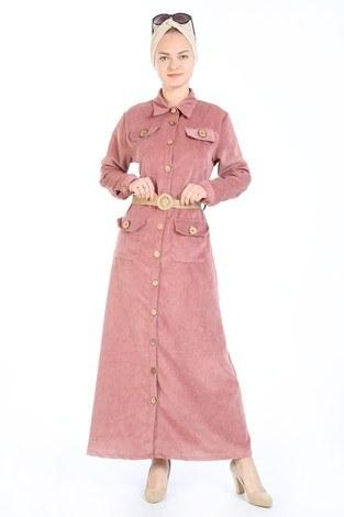 - Hasır Kemerli Kadife Elbise 5561-09 somon