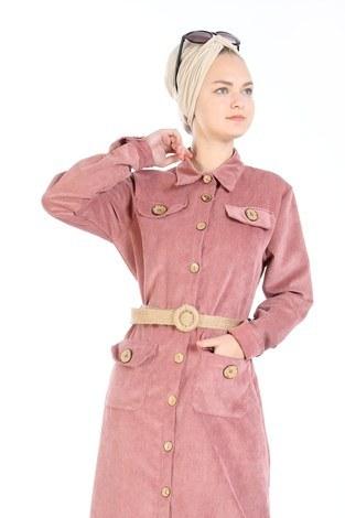 - Hasır Kemerli Kadife Elbise 5561-09 somon (1)