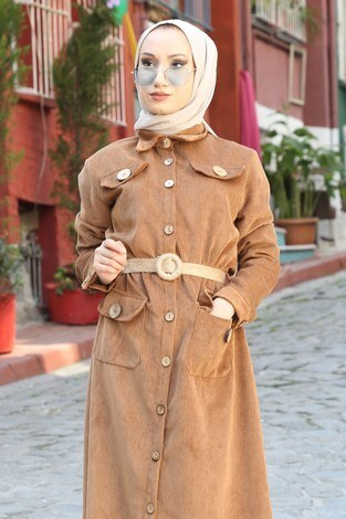 - Hasır Kemerli Kadife Elbise 5561-11 (1)