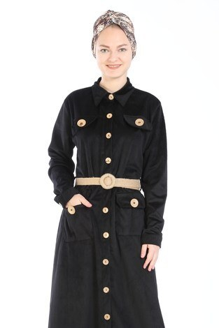 - Hasır Kemerli Kadife Elbise 5561-01 siyah (1)