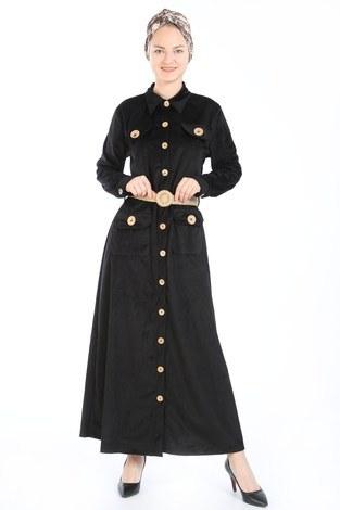 - Hasır Kemerli Kadife Elbise 5561-01 siyah