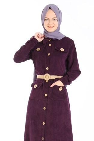 - Hasır Kemerli Kadife Elbise 5561-13 mor (1)
