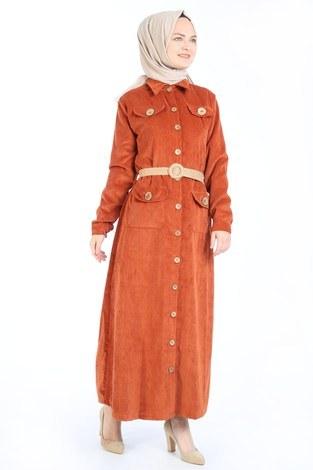 Hasır Kemerli Kadife Elbise 5561-16 kiremit - Thumbnail