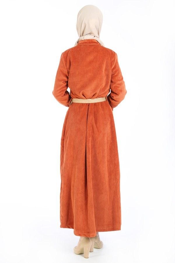 Hasır Kemerli Kadife Elbise 5561-16 kiremit