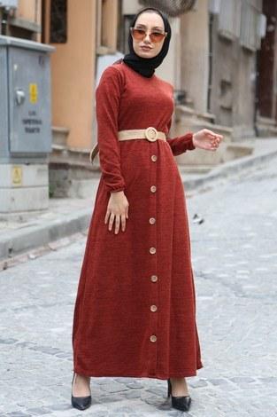 - Hasır Kemerli Triko Elbise 1560-15