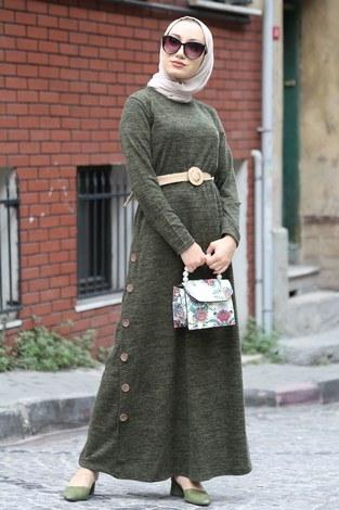 - Hasır Kemerli Triko Elbise 1565-04