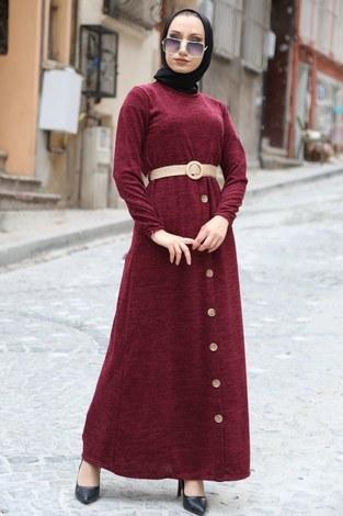 - Hasır Kemerli Triko Elbise 1560-03