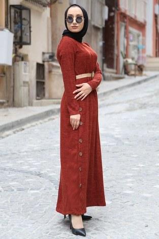 - Hasır Kemerli Triko Elbise 1565-15