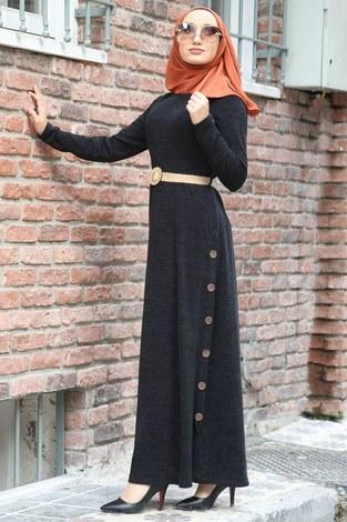 - Hasır Kemerli Triko Elbise 1565-21