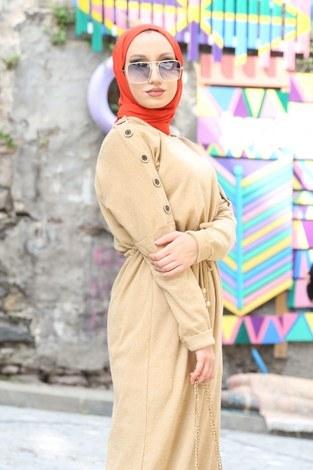 - Düğme Detaylı Triko Elbise 15560-11 bej (1)