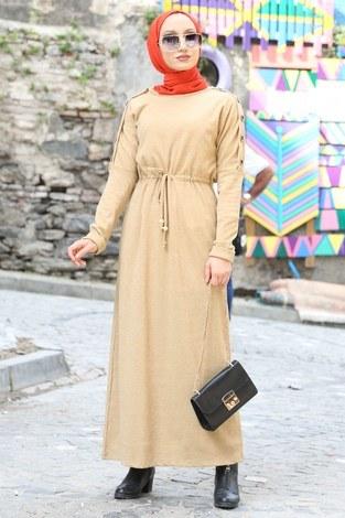 - Düğme Detaylı Triko Elbise 15560-11 bej