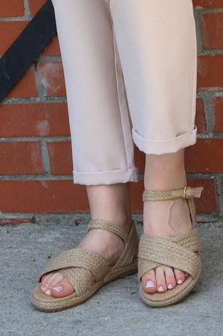 - Hasır Sandalet 6153-1 Ten
