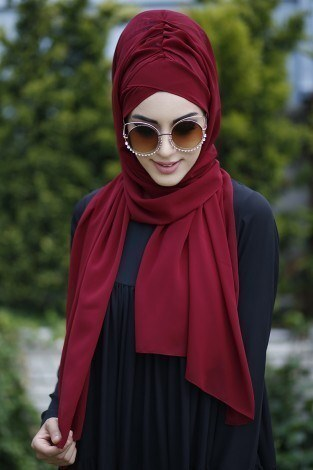 - Sade Bone Şal 40122-9 Bordo (1)