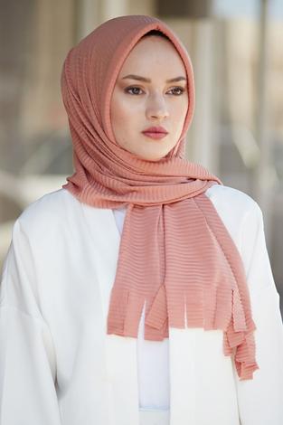 Hijap Piliseli Pratik Şal 2147-13 Somon - Thumbnail