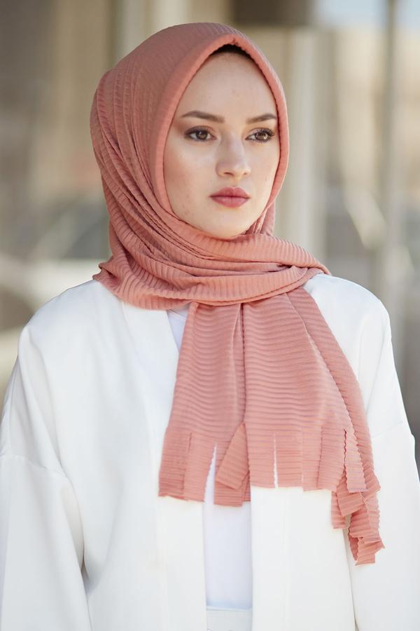 Hijap Piliseli Pratik Şal 2147-13 Somon