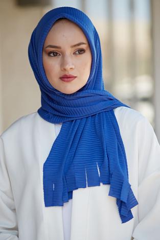 Hijap Piliseli Pratik Şal 2147-15 Saks - Thumbnail