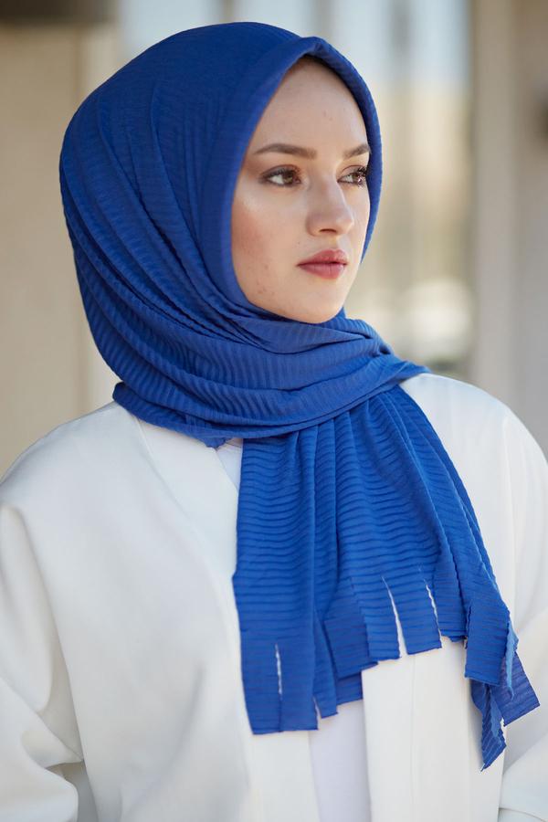 Hijap Piliseli Pratik Şal 2147-15 Saks