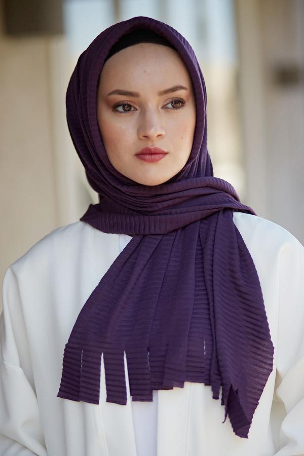 Hijap Piliseli Pratik Şal 2147-3 Mor