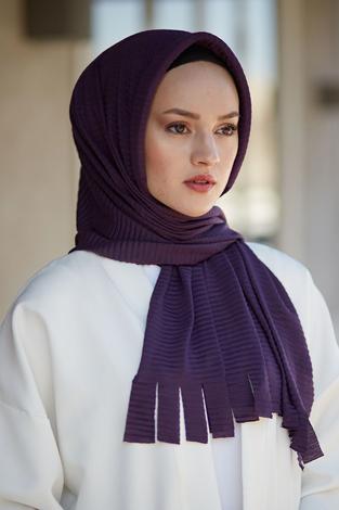 Hijap Piliseli Pratik Şal 2147-3 Mor - Thumbnail