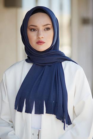 Hijap Piliseli Pratik Şal 2147-9 Lacivert - Thumbnail