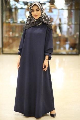 - HMN Keten Elbise 5647-20 Lacivert