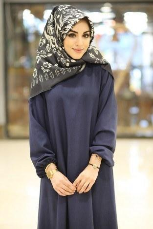 - HMN Keten Elbise 5647-20 Lacivert (1)