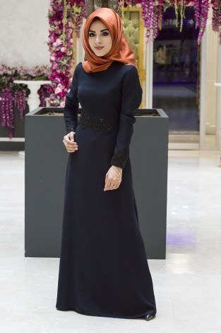 - Dantel-Pul Detaylı Abiye Elbise 15046-1 Lacivert