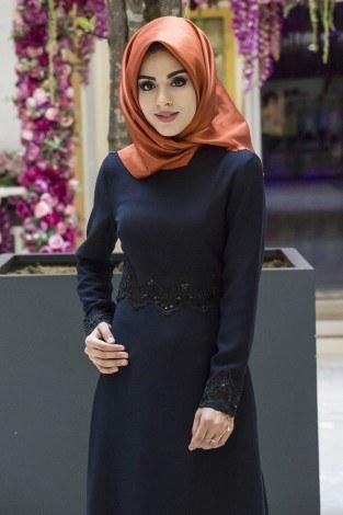 - Dantel-Pul Detaylı Abiye Elbise 15046-1 Lacivert (1)