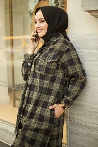 - HOT Ekoseli Salaş Kışlık Gömlek 7358-3 Haki (1)