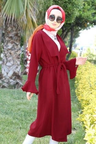 - Hümanur Beli Kemerli Salaş Kimono-Kap 3029-4 Kırmızı (1)