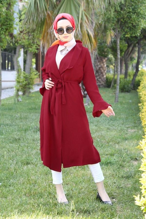 Hümanur Beli Kemerli Salaş Kimono-Kap 3029-4 Kırmızı