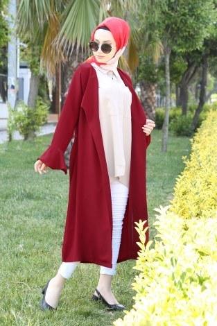 Hümanur Beli Kemerli Salaş Kimono-Kap 3029-4 Kırmızı - Thumbnail