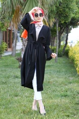 - Hümanur Beli Kemerli Salaş Kimono-Kap 3029-5 Siyah