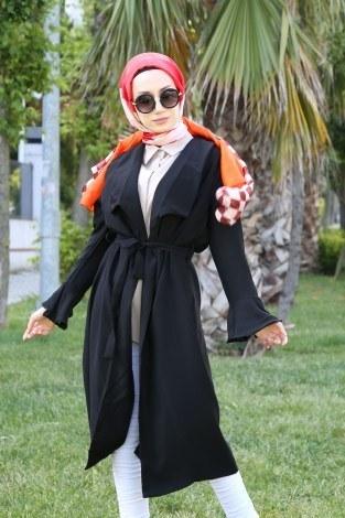 - Hümanur Beli Kemerli Salaş Kimono-Kap 3029-5 Siyah (1)