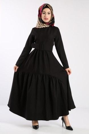 - Geniş Kemerli Elbise 3392-01