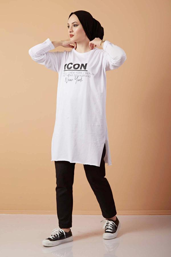 Icon Yazı Baskılı Sweat 120NY3212 Beyaz
