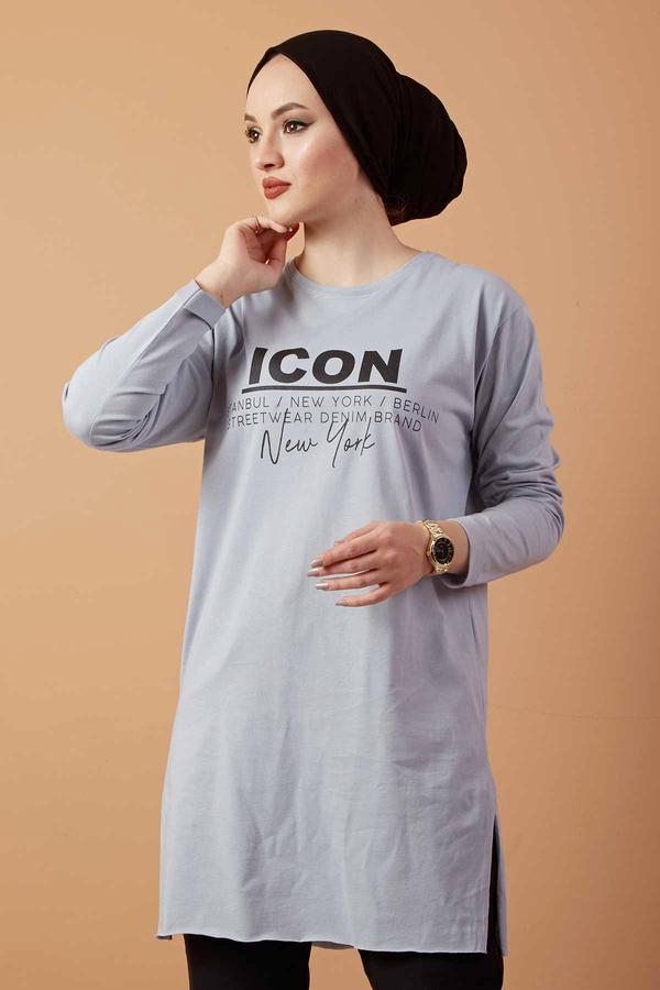 Icon Yazı Baskılı Sweat 120NY3212 Gri